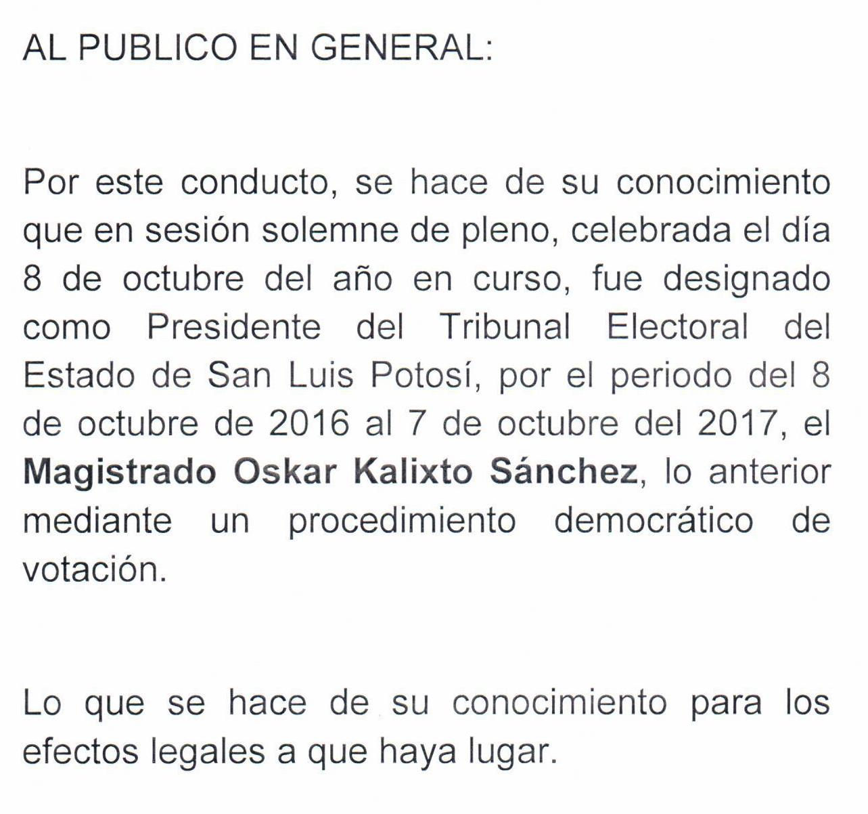 Aviso de cambio de Presidente del Tribunal Electoral del Estado